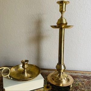 "15"" Tall  Vintage Brass Hosley Candlestick Holder."